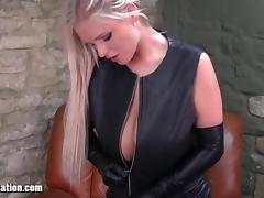Blondes with big tits tease in leather and Honey rubs pussy tube porn video