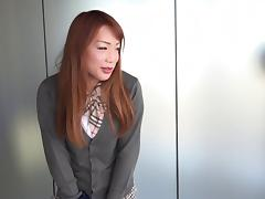 Brunette from Asia reveals to be a cock-hungry shemale tube porn video