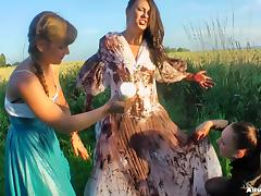 Girls cover the pretty bride in dirty mud and strip her tube porn video