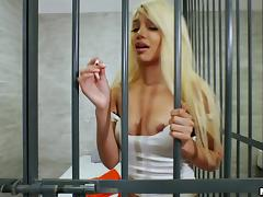Imprisoned blonde inmate is happy to receive the dick into pussy tube porn video