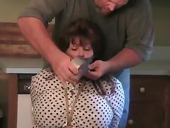 Elane bound in the kitchen (big blindfold). tube porn video