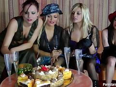 Smoking bitches caress their flawless bodies with food in a messy lesbian treat tube porn video