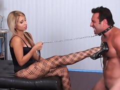 Seductive blonde busty babe and her slave - GlamBitches tube porn video