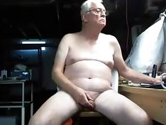 Grandpa nudist wanking his uncut cock tube porn video