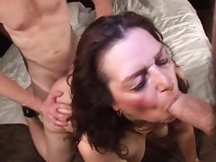 Naughty Dutch mature fatty Coosje gets rammed in a threesome tube porn video