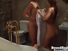 Mistress Spy On Two Slaves Taking A Bath tube porn video