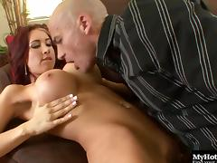 Redhead bombshell with big fake tits Kylee has her wet cunt drilled tube porn video