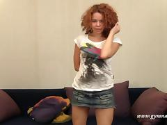 Seductive redhead with curly hair enjoys stretching her wet snatch tube porn video