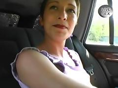 Euro Brunette Masturbating in Backseat tube porn video