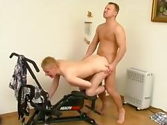 Sexy blonde babe gets her pussy licked and fucked by her horny fitness trainer tube porn video