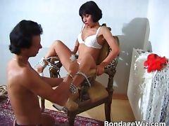 Hot slut enjoys being tied up on some tube porn video