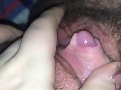 Hairy plays with huge clit tube porn video