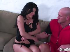 Super hot brunette gets her pussy stretch with big cock tube porn video
