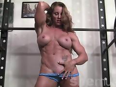 Ripped female bodybuilder IronFire works out and poses tube porn video