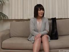 Short-haired Asian honey stripping and putting a dick in her mouth tube porn video