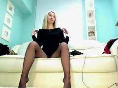 Blonde babe in Pantyhose tube porn video
