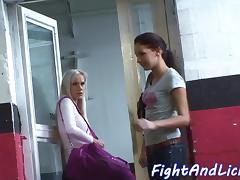 Glamour lesbians wrestling tube porn video
