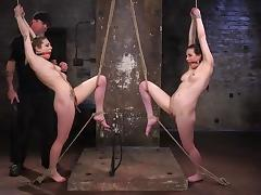 two ball gagged slaves tied up and tortured by the master tube porn video