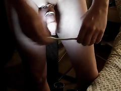 Inflated foreskin illuminated  pierced needles   pins balls tube porn video