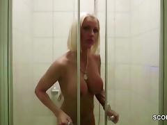 German Big Tit MILF Caught in Shower and Seduce to Fuck tube porn video