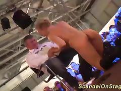 hot busty blonde babe give a extreme wild lapdance on public sex fair show stage tube porn video