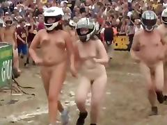 Silly nudists in a naked race tube porn video