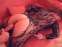 German Wife big boobs in hot Catsuit laid tube porn video
