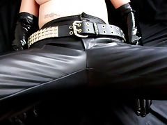 Pierced Milf Latex Gloves and Miniskirt Handjob tube porn video