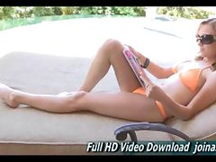 Maelynn we first see cute and petite at poolside wearing a bikin tube porn video