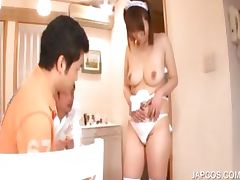 Japanese maiden stripped in threeome tube porn video