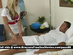 Sweet busty blonde nurse takes care of a patient tube porn video