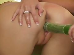 Teen lesbians fill pussy with cucumber tube porn video