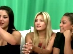 Cfnm femdoms jerk victim cock as her friends watch tube porn video