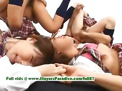 Teen japanese models have fun with an orgy tube porn video