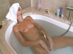 Petite russian girl in the amazing bath tube porn video