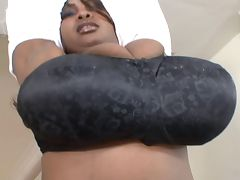 Dominican Miosotis presenting her giant Melons tube porn video
