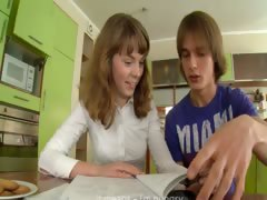 Teenagers erotica on the kitchen table tube porn video