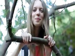 Fingers in ultracute vagina in the trees tube porn video