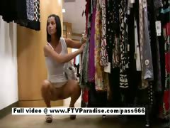 Jamee teenage brunette babe in a clothes shop tube porn video