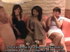 Subtitled Japanese milf group view a CFNM lingerie show tube porn video