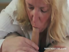 Blonde MILF gives hand and boob job tube porn video