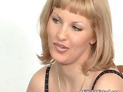 Great blonde MILF sucks hard cock tube porn video