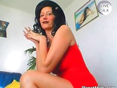 Hot busty milf having fun with big glass tube porn video