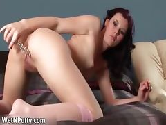 Sexy brunette babe finger fucks hard her part1 tube porn video