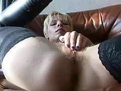Hairy Russian Amateur is Left Alone in Apartments with a Fucking Machine tube porn video