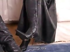 Beautiful Sexy Black Leather on an attractive brunette tube porn video