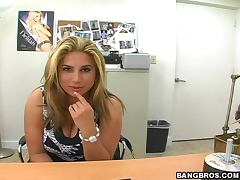 Lush blonde Cuban babe gets fucked at the interview tube porn video