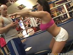 Busty brunette Claire Dames fucks Derrick Pierce on the prize ring tube porn video
