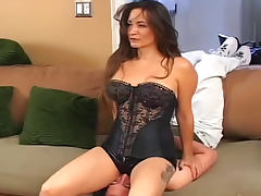 Chick in latex shorts sits on his face tube porn video