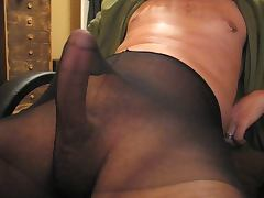 A longer jerkoff session in pantyhose tube porn video